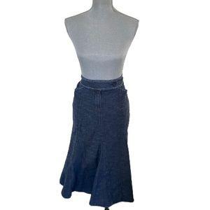 Simon Chang Cottage Core Fishtail Denim Skirt